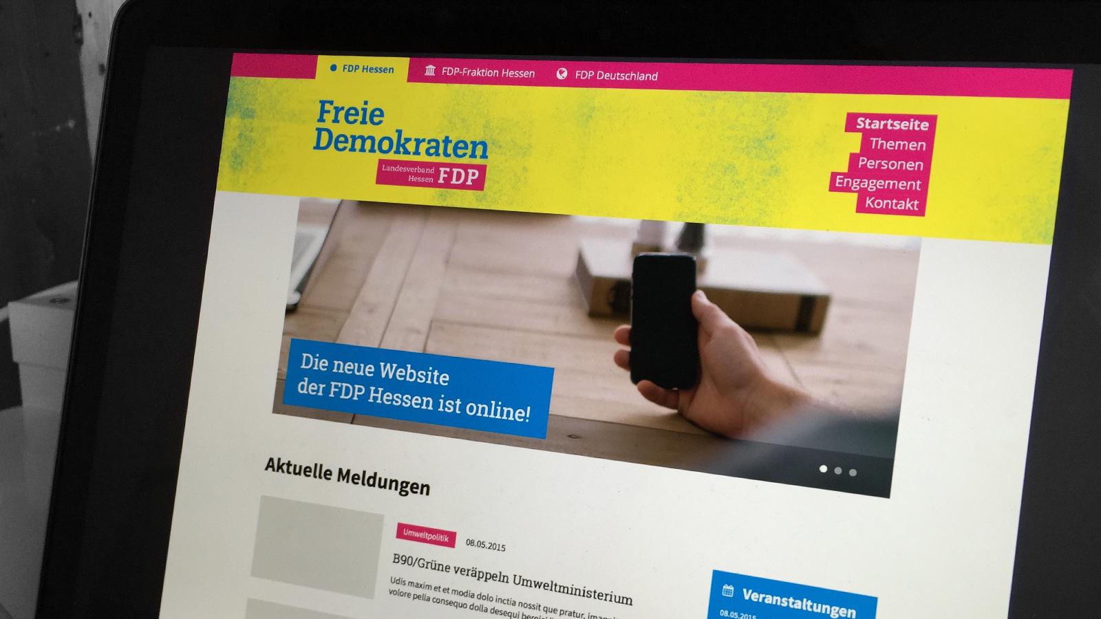 Website der FDP Hessen im Entwurfs-Stadium